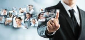 23572509 - businessman finger touches virtual buttons